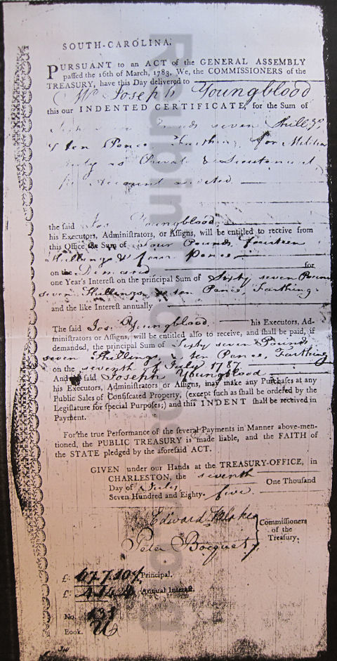 Indented Certificate of Joseph Youngblood